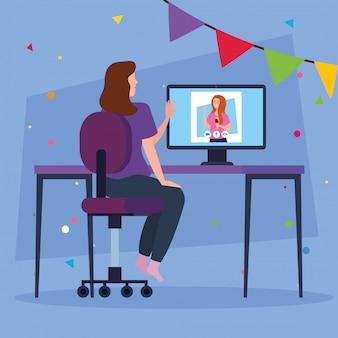 女性とワインカップを持つコンピューター上の女の子