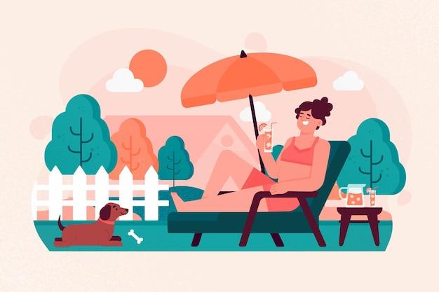 Женщина и ее собака концепция отдыха