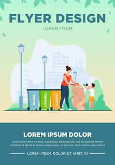 ゴミを分類する女性と子供。さまざまなビンの近くにゴミ袋を持っている人フラットベクトルイラスト。廃棄物の分別、ごみ収集の概念