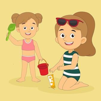 Женщина и маленькая девочка отправляются в путешествие на летних каникулах