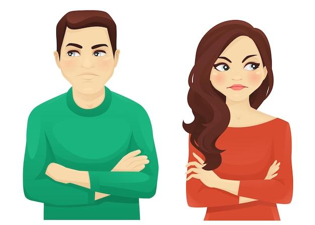 여자와 남자 화난 감정 illustartion