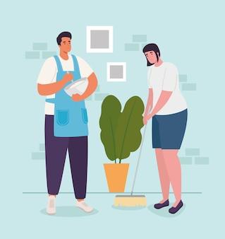 Женщина и мужчина дома готовят и широкий дизайн деятельности и отдыха