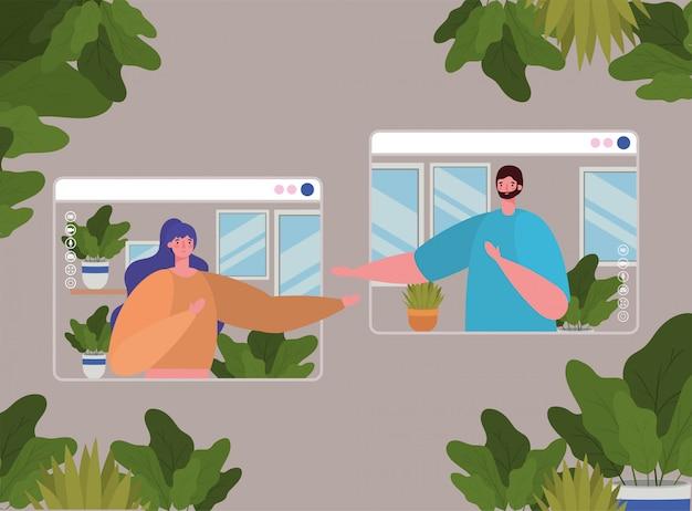 ビデオチャットのウェブサイト上の女性と男性のアバター