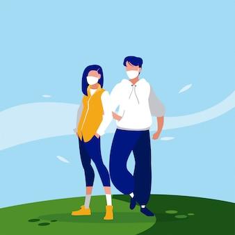 Женщина и мужчина аватары с масками за пределами векторного дизайна