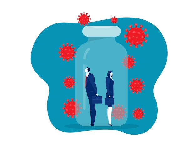 Бизнес женщины и мужчины в бутылке с вакциной защищают от covid 19 или коронавируса концептуальный векторный иллюстратор