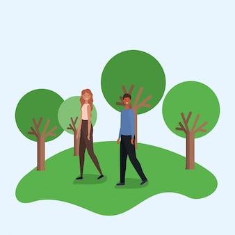Женщина и мужчина мультфильм прогулки в парке с деревьями векторный дизайн