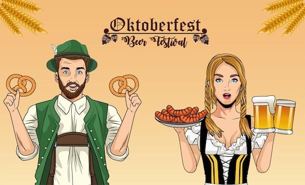 Мультфильм женщина и мужчина с традиционными тканевыми пивными бокалами с кренделями и колбасами, фестиваль октоберфест в германии и тема празднования