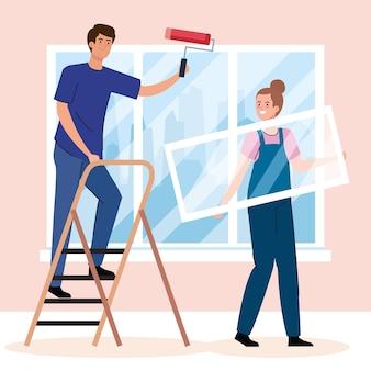 여자와 남자 만화 리모델링 건설 작업 및 수리의 롤과 사다리 디자인으로 그림