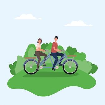 Женщина и мужчина мультфильмы, езда на двойном велосипеде в парке векторных дизайн