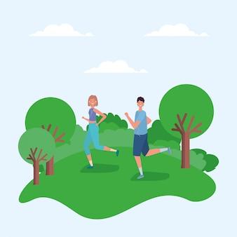 Женщина и мужчина мультфильмы работает в парке векторный дизайн