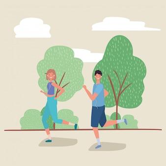 公園のベクターデザインで実行されている女と男の漫画