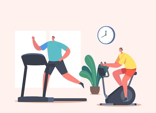 운동 자전거와 디딜 방아에 체육관에서 여자와 남자 캐릭터 훈련. 스포츠 운동, 유산소 운동을 하는 건강한 사람들
