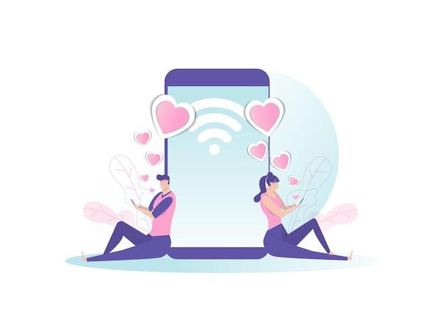 Женщина и мужчина болтают о любви через социальные сети.