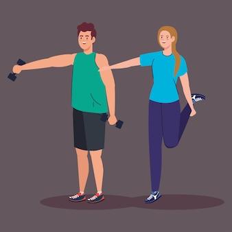 女性と男性のカップルが体重を持ち上げてストレッチデザイン、ジムスポーツとボディービルのテーマ。