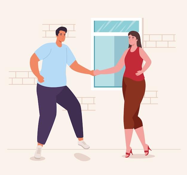 활동 및 레저의 홈 디자인에서 춤추는 여자와 남자
