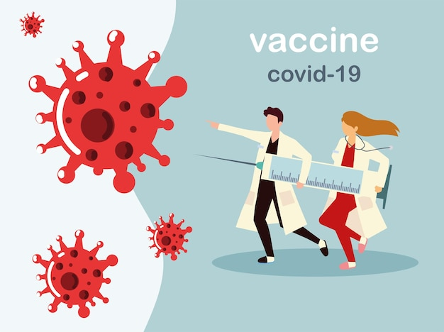 女性と男性の医師はワクチンで大きな注射器を保持し、医師はイラストを防ぎます