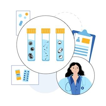 여자와 남자의 난자 세포, 튜브에 있는 배아 아이콘. 실험실에서 산부인과 의사. 정자와 난자.