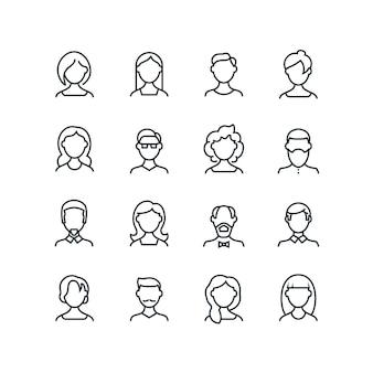 女と男の顔線アイコン。さまざまなヘアスタイルの女性男性プロファイルアウトライン記号。分離されたベクトル人アバター
