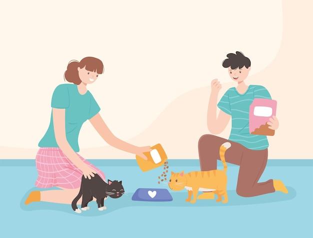 고양이에게 먹이를 주는 여자와 남자