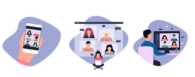 Женщина и мужчина во время видеозвонка с коллегой, удаленно работая онлайн из дома.