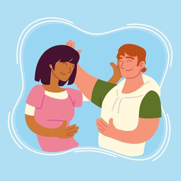여자와 남자 포옹
