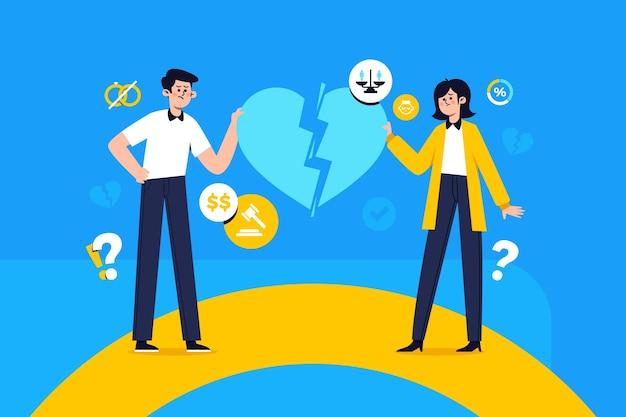 Женщина и мужчина, иллюстрирующие концепцию развода