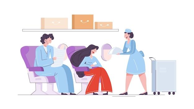 비행기에서 여자와 남자, 승객을 위해 음식을 제공하는 스튜어디스. 전문 직업 및 관광에 대한 아이디어. 삽화