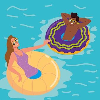 수영장에서 여자와 남자