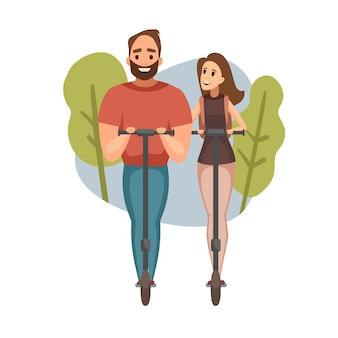 Женщина и мужчина смеялись во время езды на электрический скутер. современный эко транспорт. деловые люди иллюстрации.