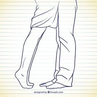Женщина и мужчина ноги в эскизной стиле
