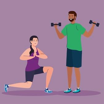 女性と男性が体重を持ち上げ、ヨガのデザイン、ジムのスポーツ、ボディービルのテーマをやっています。