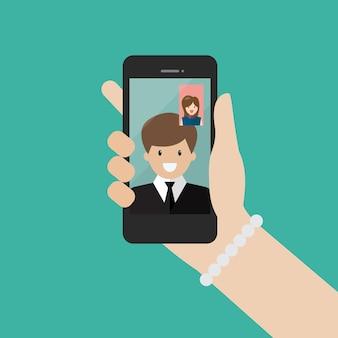여자와 남자는 비즈니스 비즈니스 화상 통화 개념에서 화상 통화를 합니다.
