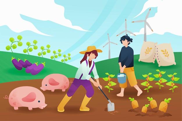 여자와 남자 유기 농업 개념