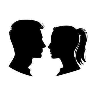 Профили женщин и мужчин.