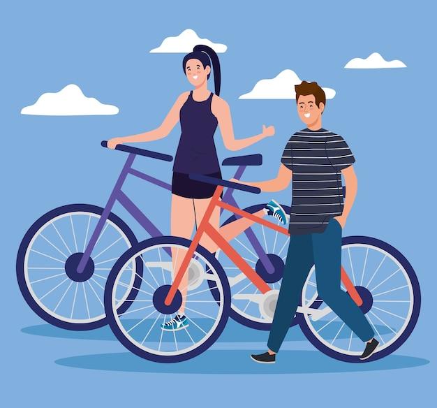 雲のデザイン、車両の自転車サイクルとライフスタイルのテーマの前で自転車に乗る女性と男性