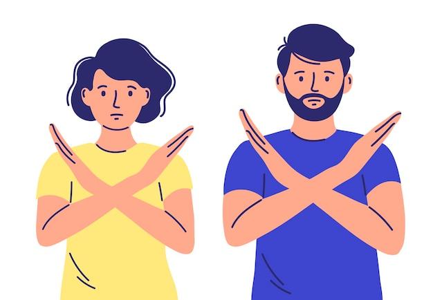 여자와 남자는 거부, 표현, 화난, 심술궂은, 금지의 제스처로 아니오라고 말합니다.