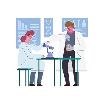 Женщина и мужчина-ученый с микроскопом