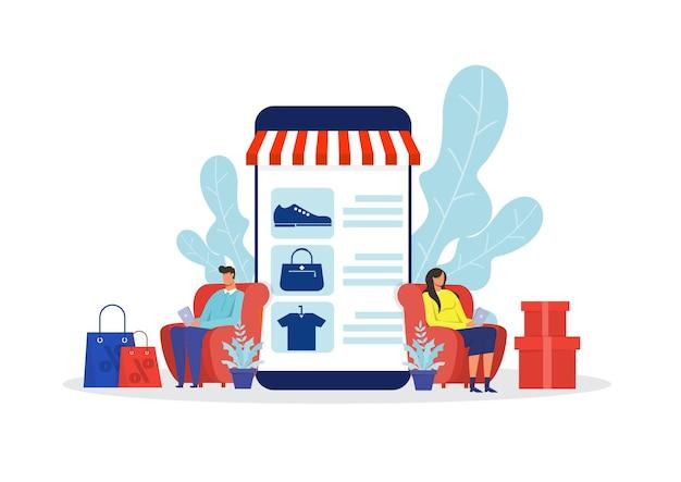 여자와 남자 쇼핑 온라인 stor, 프로모션 구매 마케팅 일러스트레이션