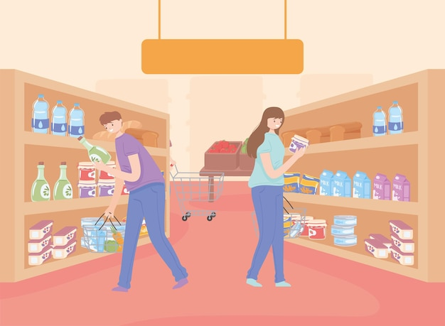 여자와 남자 쇼핑 시장