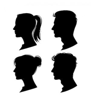 女と男のシルエットプロファイル。