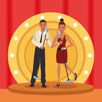 Женщина и мужчина певцы, группа джазовой музыки