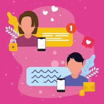 Смартфоны женщина и мужчина и пузыри