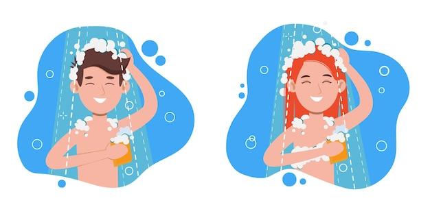 バスルームで朝のシャワーを浴びている女性と男性。頭、髪、体をシャンプーと石鹸で洗います。