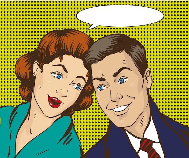 여자와 남자는 서로 이야기합니다. 레트로 만화. 가십, 소문 이야기