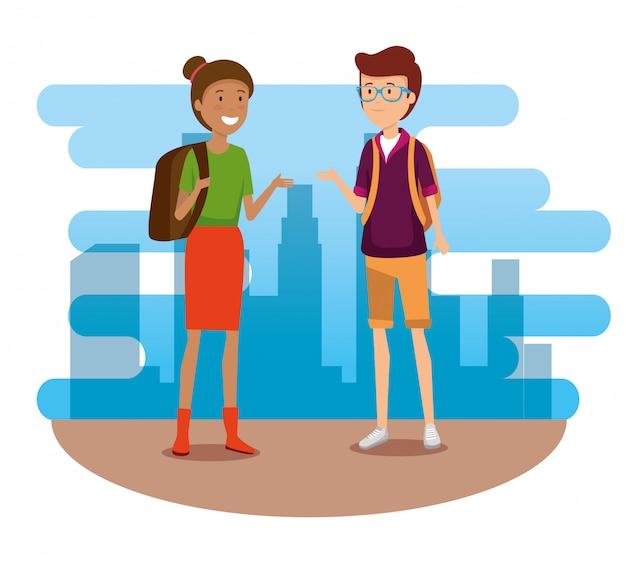 旅行するバックパックと女と男の観光