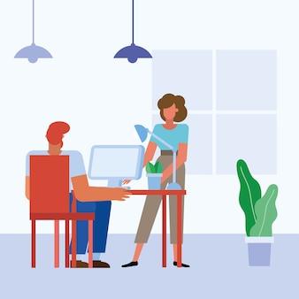 사무실 디자인, 비즈니스 개체 인력 및 기업 테마 책상에 컴퓨터와 여자와 남자