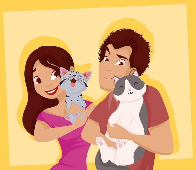 Женщина и мужчина с милыми кошками талисманы дизайн, домашнее животное природа и домашняя тема векторные иллюстрации