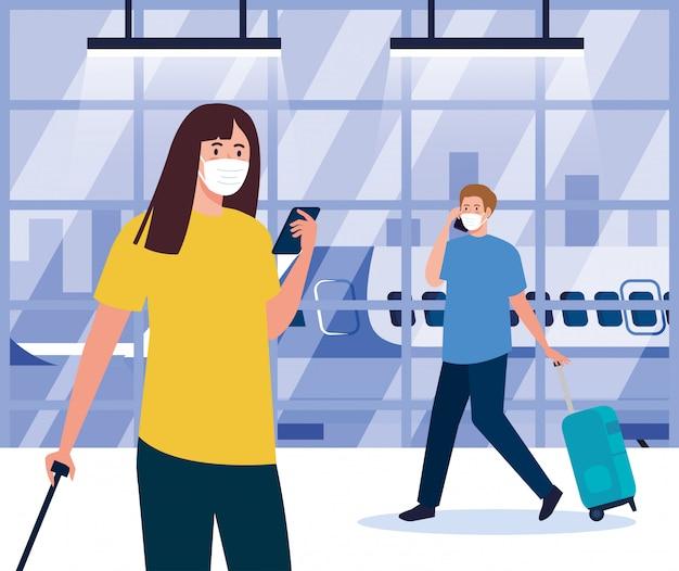 의료 마스크와 비행기 앞에서 가방을 가진 여자와 남자