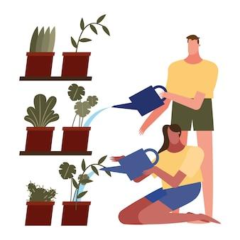 植物とじょうろを持つ女性と男性は、アクティビティとレジャーのテーマの自宅でデザインすることができます。