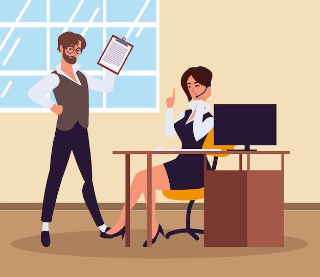 사무실에서 일하는 여자와 남자